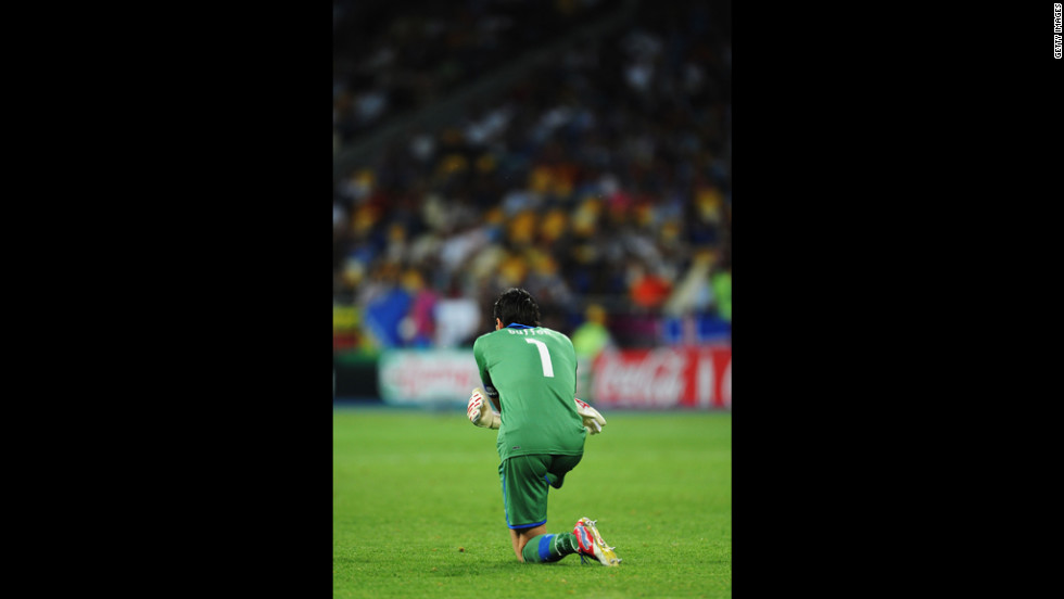 Italy goalkeeper Gianluigi Buffon looks on during Sunday's match against Spain.