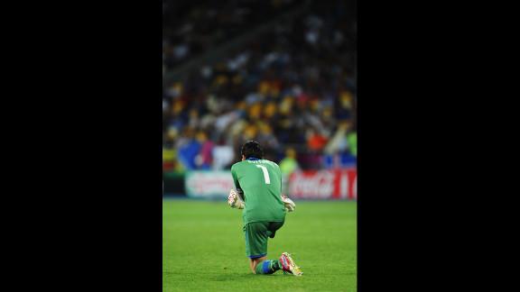Italy goalkeeper Gianluigi Buffon looks on during Sunday