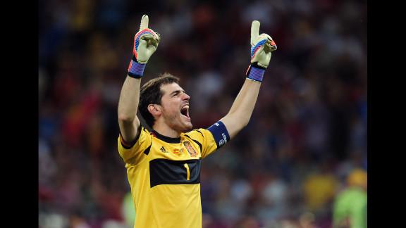 Goalkeeper Iker Casillas of Spain celebrates after his team