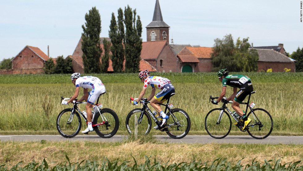 Three riders broke away from the main group early in Stage 2, including (left to right): Anthony Roux of France, Michael Morkov of Denmark and Christophe Kern of France.
