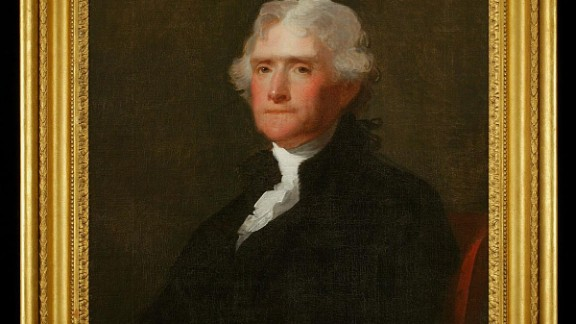 A portrait of Thomas Jefferson that hangs in the colonial Capitol in Williamsburg, Virginia.