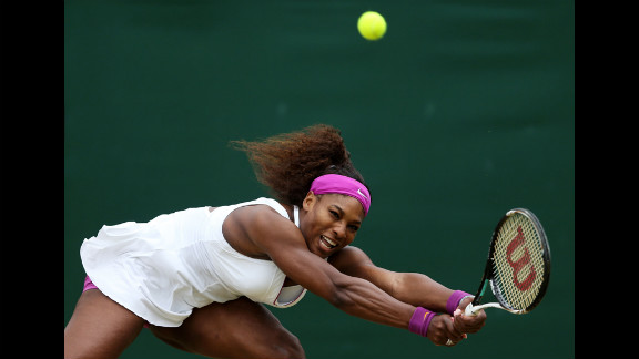 Serena Williams of the USA hits a backhand return to Yaroslava Shvedova of Kazakhstan during their fourth-round match Monday.
