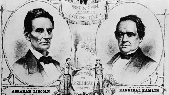 A campaign poster for the Republican ticket of the United States presidential election of 1860 promoting free speech, free homes, free territory, and protection to American industry and supporting Abraham Lincoln for president and Hannibal Hamlin for vice president, 1860.