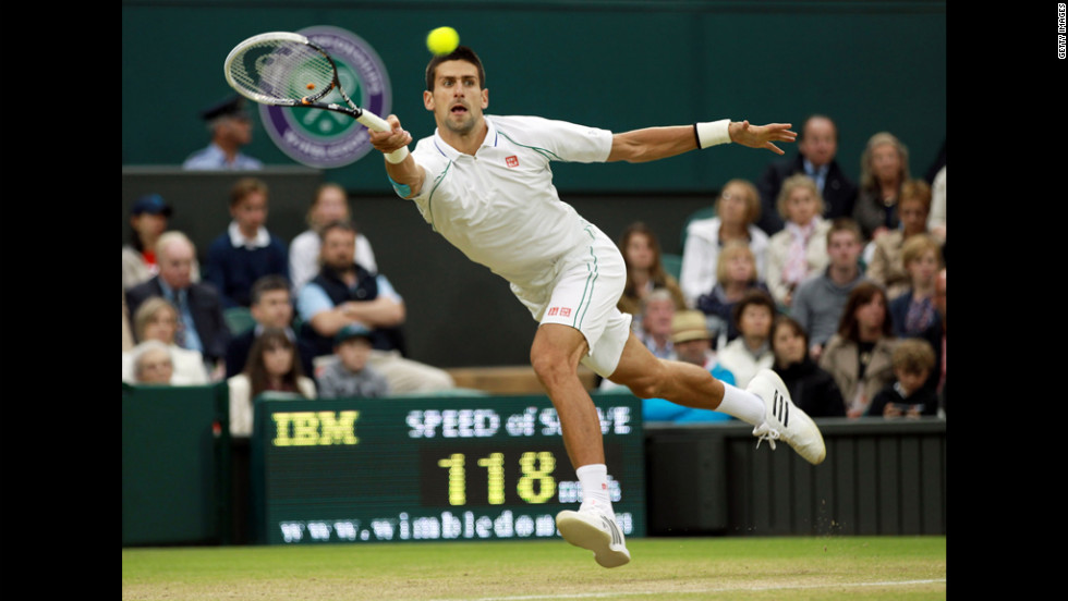 Novak Djokovic of Serbia runs for a forehand return against Viktor Troicki of Serbia on Monday.