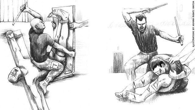 "Illustrations from the Human Rights Watch report show torture techniques called ""basat al reeh,"" left, and ""dulab."" The group commissioned a Syrian artist for the sketches based on descriptions from former detainees and defectors."