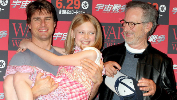 """Cruise took young actress Dakota Fanning under his wing for Steven Spielberg's """"War of the Worlds"""" in 2005."""
