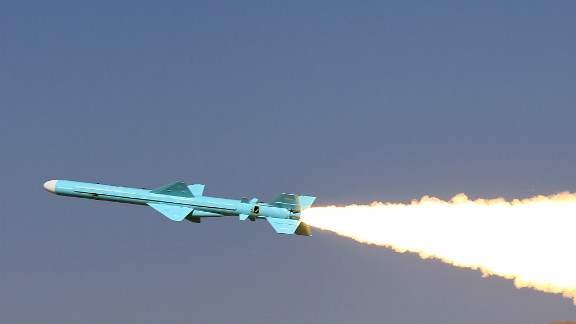 An Iranian ground-to-sea missile is launched during navy war games near the Strait of Hormuz in Iran in January.