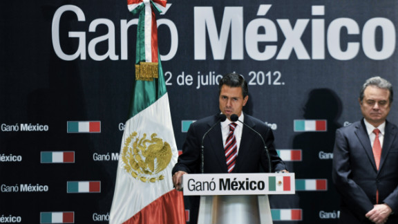 Peña Nieto, representing the Institutional Revolutionary Party (PRI), speaks during a press conference Monday in Mexico City. He said it was time for his country to leave behind the political rancor of the campaign season.