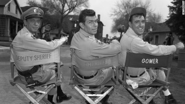 "(From left) Don Knotts as Barney Fife, Andy Griffith as Andy Taylor and Jim Nabors as Gomer Pyle on the CBS television network series, ""The Andy Griffith Show."""
