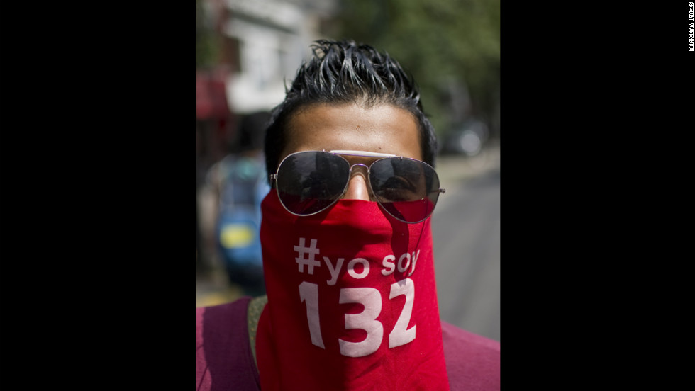 A youth activist rallies in Mexico City on Monday. About a third of Mexico's 79.4 million registered voters are between the ages of 18 and 29.