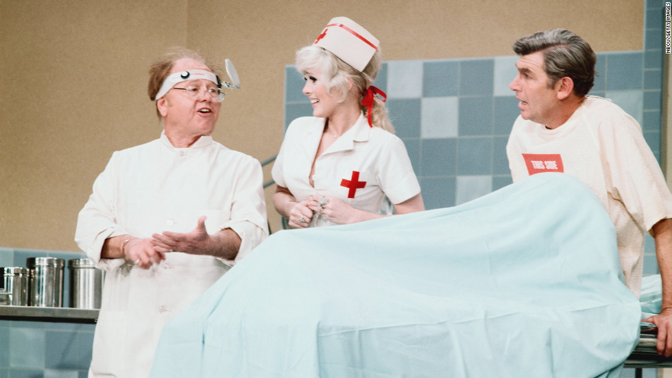 From left, Mickey Rooney, Connie Stevens and Griffith in a hospital room set in 1972.