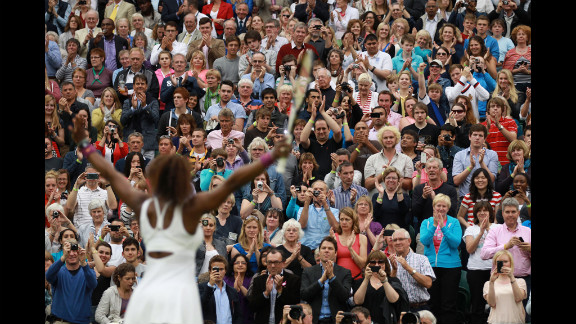 Williams celebrates after beating Kvitova in the Ladies