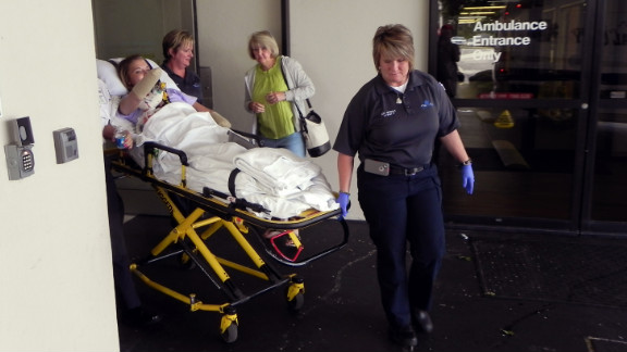 Copeland is transported to a waiting ambulance, which took her to a rehab facility before she returned home.