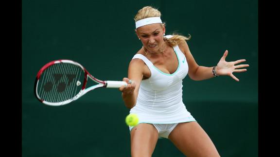 Donna Vekic of Croatia takes on Christina Makarova of the United States on Monday.