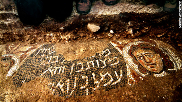 Mosaics found in an ancient synagogue include images of women, as well as the biblical figure Samson.