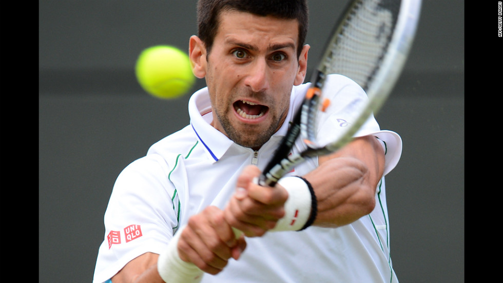 Serbia's Novak Djokovic plays a double-handed backhand shot during his men's singles quarterfinal match against Germany's Florian Mayer.