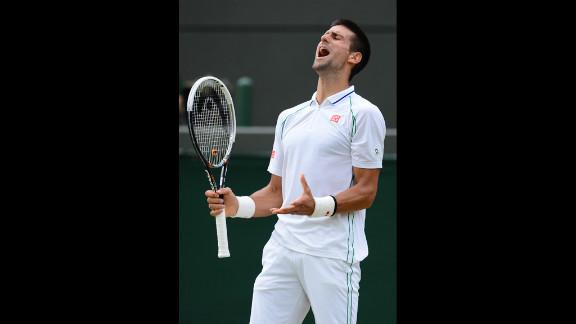 Djokovic reacts during his men