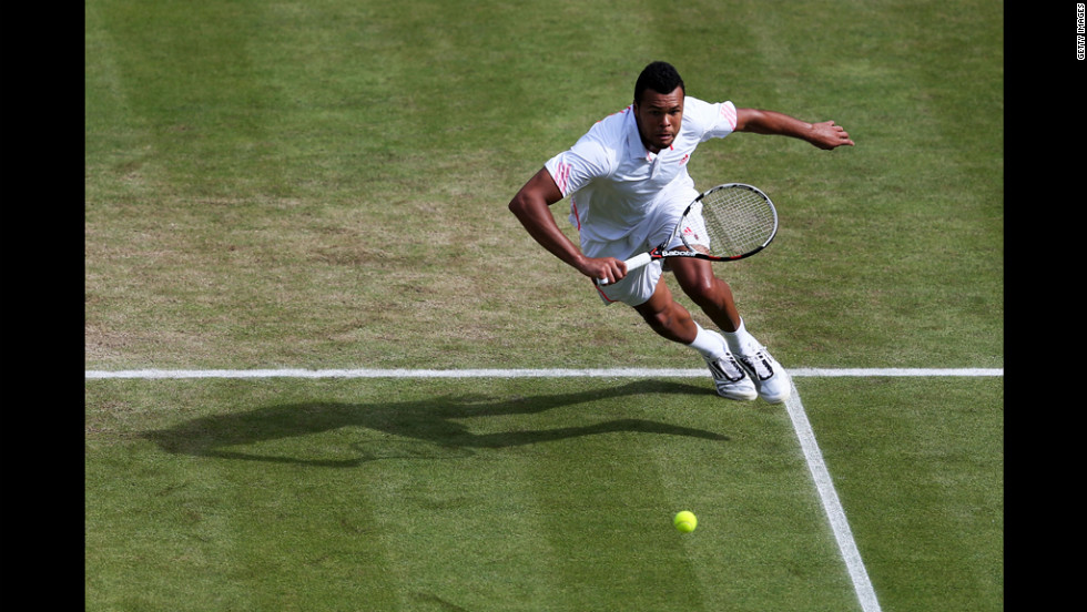 Tsonga in action during his Gentlemen's Singles quarter final match against Kohlschreiber.