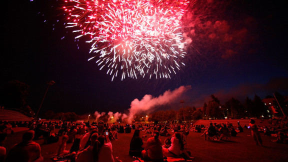 Soldiers and their families watch fireworks at the U.S. military base in Baumholder, Germany, on Wednesday, July 4. This year marks the 236th anniversary of the United States declaring itself independent from Great Britain.