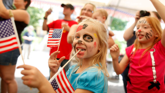 A  girl participates in the Fourth of July festivities at the Baumholder U.S. military base.