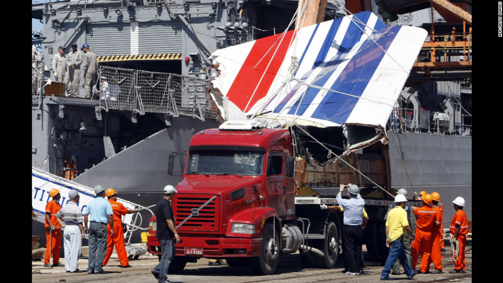 The recovered tailfin of  Air France's Airbus A330 is unloaded at the Port of Recife, Brazil, on June 14, 2009. The aircraft's voice recorder and flight data recorder were found on the ocean floor in May 2011 after an extensive search using miniature submersible vehicles.