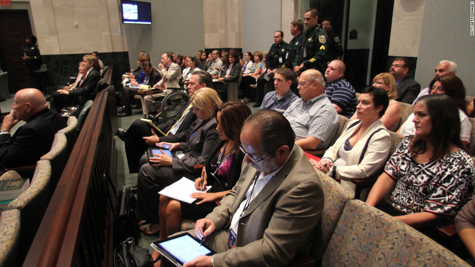 <strong>May 2011: </strong>With prosecutors deciding to pursue the death penalty, jury selection began in the Casey Anthony trial on May 9, 2011. Spectators in the courthouse are pictured here as they wait for the trial's first day to begin on May 24, 2011.