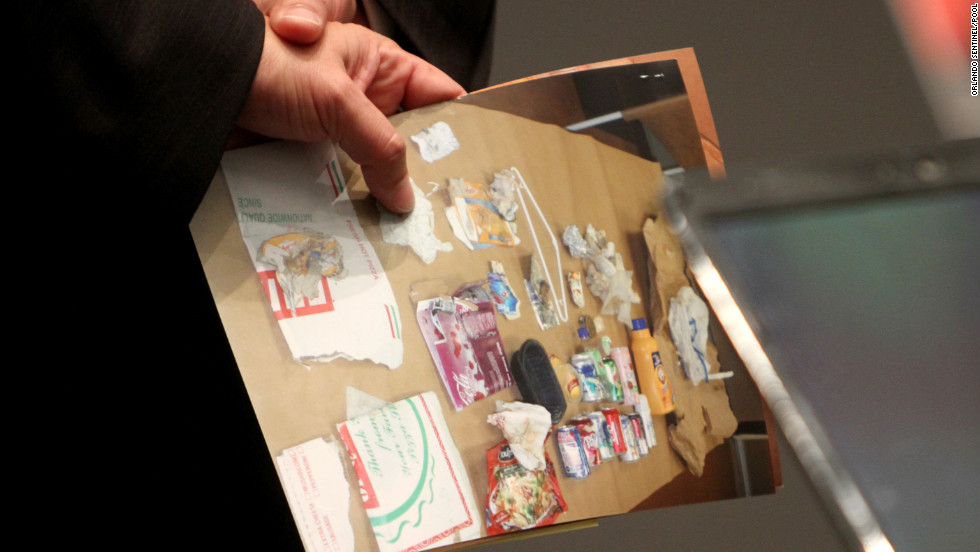 <strong>June 2011: </strong>Forensics expert Arpad Vass testified on June 6 that the only plausible explanation for the odor in Casey's car trunk would be the presence of a decomposing human body. Pictured here is an evidence photo of trash found in the trunk.