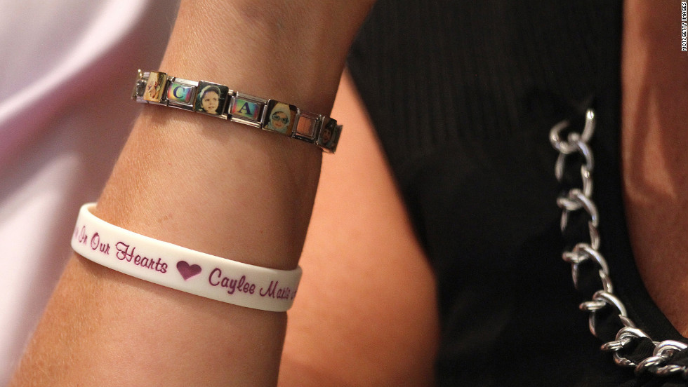 Anthony's mother, Cindy, wears a bracelet commemorating her granddaughter Caylee.