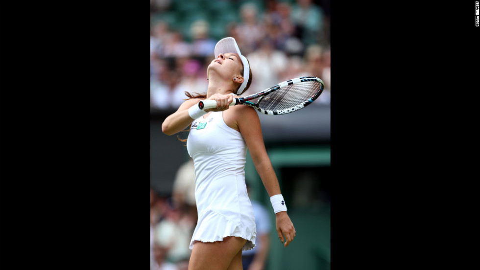 Radwanska celebrates after winning her Ladies' Singles semifinal match against Kerber on Thursday.