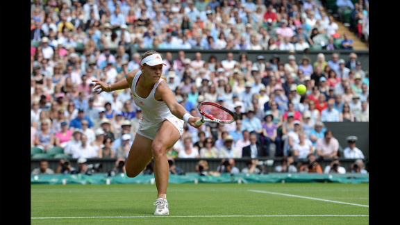 Kerber plays a backhand shot during her Ladies