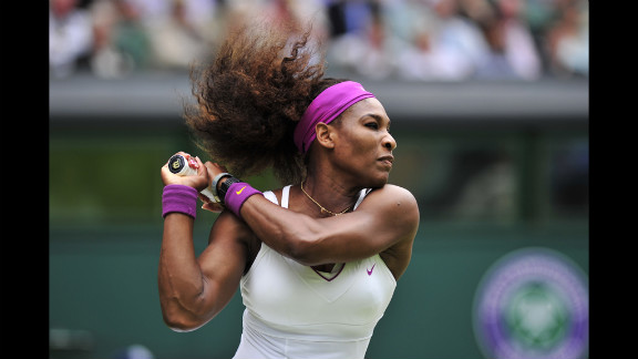 U.S. player Serena Williams plays a shot Thursday during her women