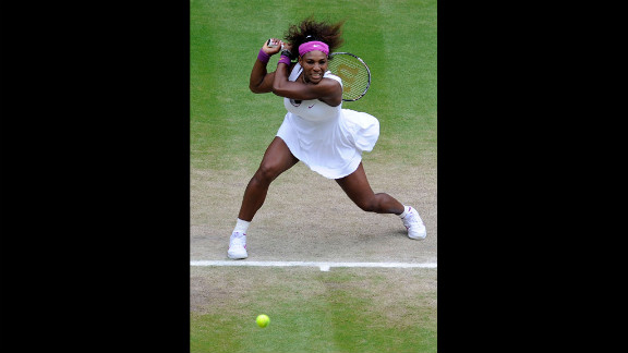 Serena Williams of the United States returns a shot during her women