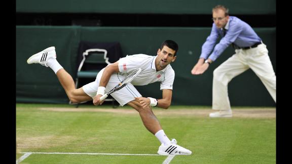Novak Djokovic reacts during his men
