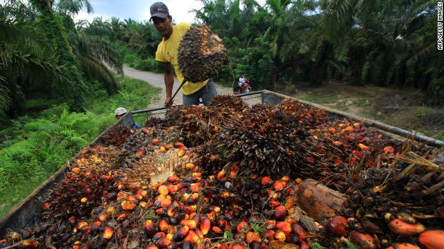 A worker loads palm oil seeds into a cart in East Aceh, Indonesia.