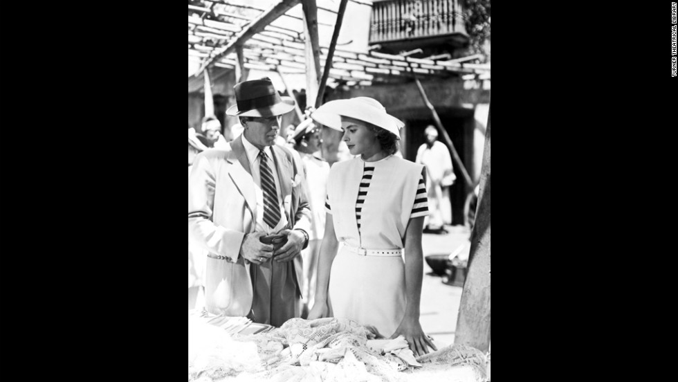 Rick and Ilsa talk in a bazaar after her surprising arrival in Casablanca. She is the wife of Victor Laszlo (played by Paul Henreid), a Czech resistance leader whom she had thought to be dead when she fell in love with Rick in Paris.