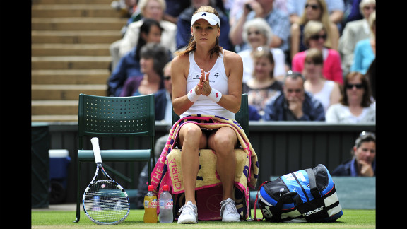 Radwanska rests on her chair during a break between games during the match against Williams. Radwanska won on her Grand Slam semifinal debut to become Poland