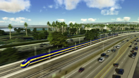 This computer-generated image shows plans for the California's upcoming high speed rail system.