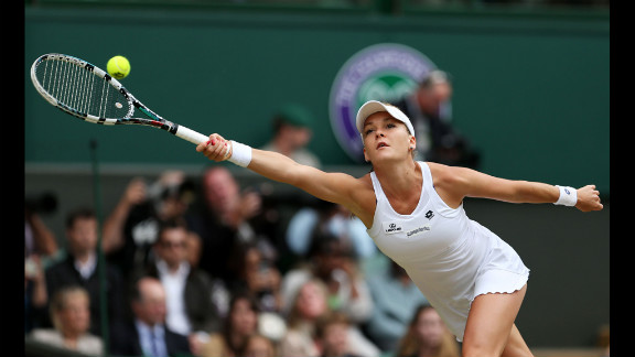 Radwanska hits a forehand return back to Williams.