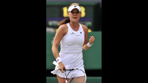 Radwanska reacts after a good play.