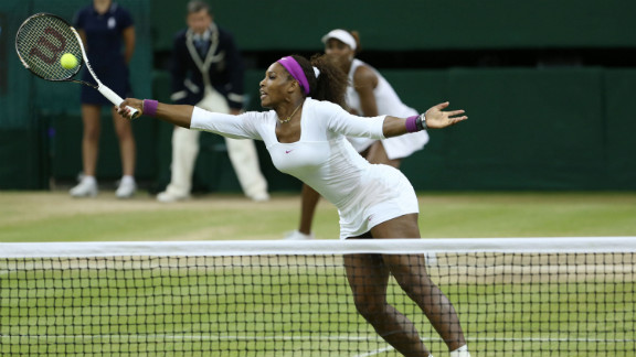 Serena Williams hits a volley during women