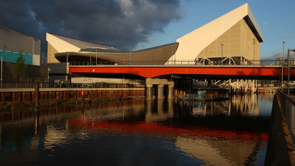 The aquatic center, designed by British architect Zaha Hadid, is another venue with temporary seating. After the Games it