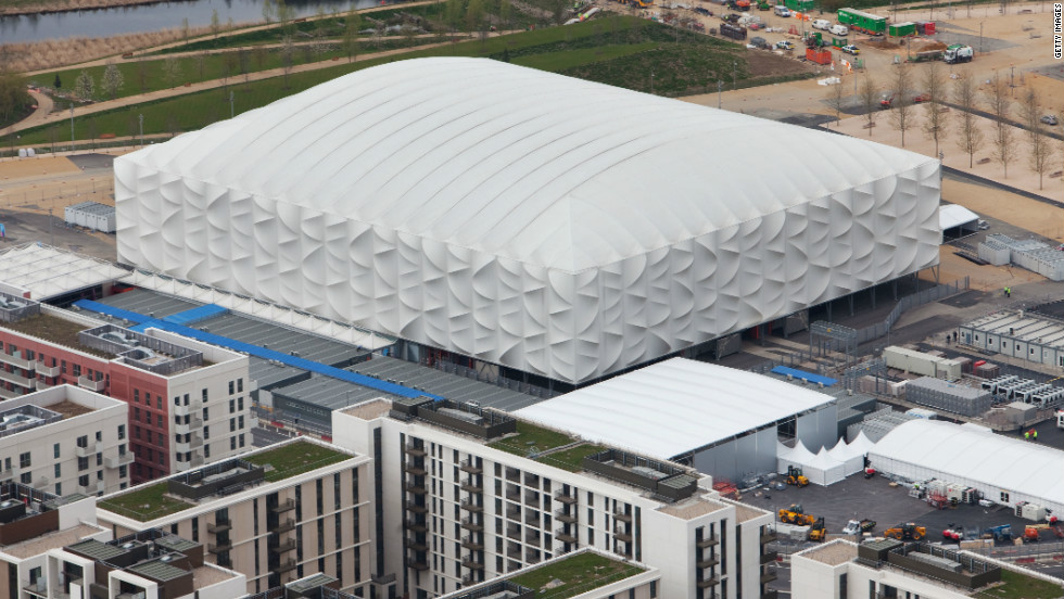 All the venues have been constructed with sustainablity in mind. The 2012 basketball arena (pictured) is one of several temporary venues erected for the duration of the Games. In total, there will be almost 300,000 temporary spectator seats, a figure without precedent at the Olympics, organizers say.