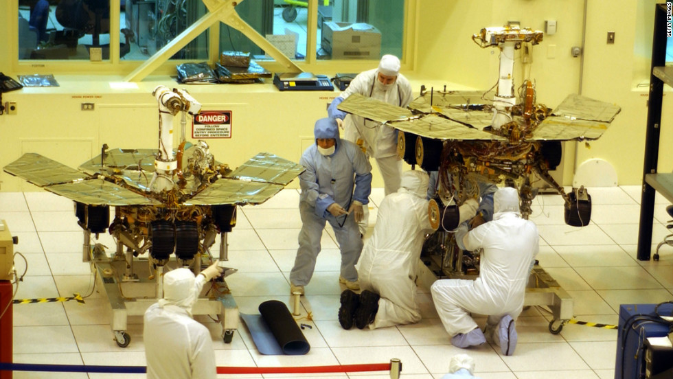 Mars exploration rovers Opportunity and Spirit were built at NASA's Jet Propulsion Laboratory in Pasadena, California, before being sent on a mission originally scheduled to last three months. Spirit stopped functioning in 2010, but Opportunity is still going strong.