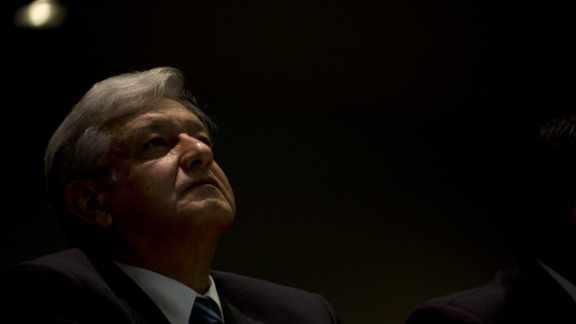 Andres Manuel Lopez Obrador,  the presidential candidate for the leftist coalition Progressive Movement of Mexico, pictured in Mexico City on July 9, 2012.