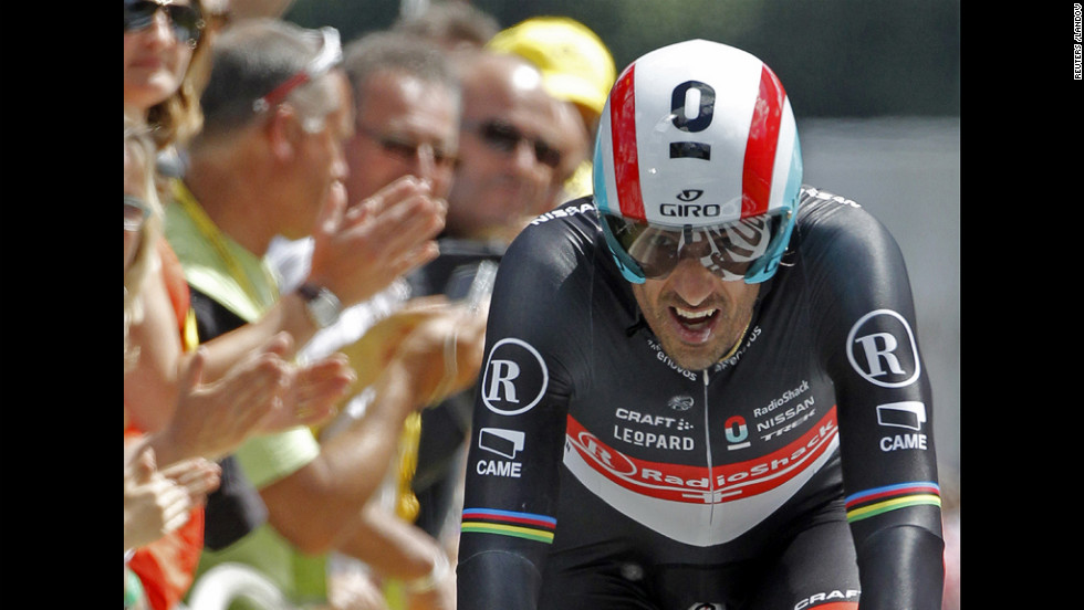 Radioshack-Nissan rider Fabian Cancellara of Switzerland crosses the finish line during the individual time trials.