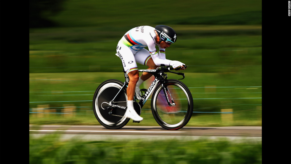 World time trial champion Tony Martin of Germany rides the Stage 9 time trials on Monday, July 9.