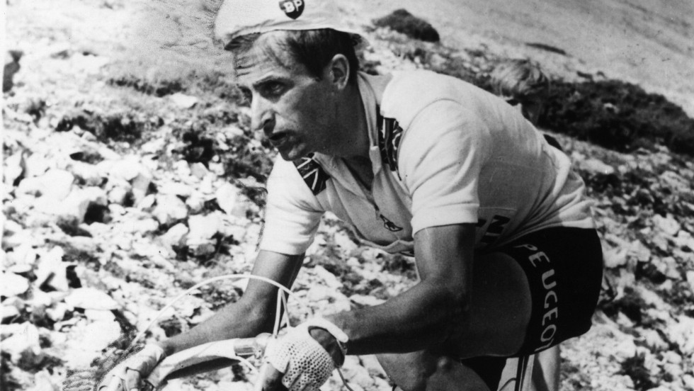 "Tom Simpson was Britain's most successful post-war cyclist. He was the first Briton to ever wear the yellow jersey after winning stage 12 in 1962, and his final placing of 6th would remain the best a British cyclist could manage for 22 years. He died of a heart attack in 1967 on Mont Ventoux, after consuming a deadly combination of alcohol and amphetamines. His last words, as recorded by his mechanic, were ""Go on, go on!""."
