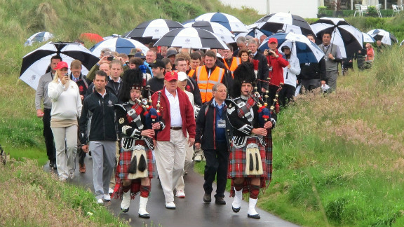 Trump played up to his Scottish roots, entertaining those in attendance with complimentary shortbread, whiskey and a spot of traditional music.