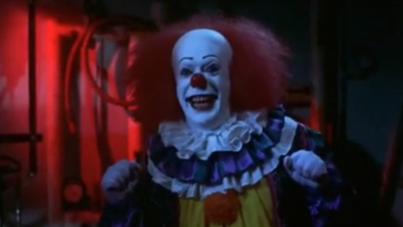 """One of the main characters of the 1990 miniseries """"It,"""" which is based on a novel by Stephen King, is a sarcastic and sadistic clown."""