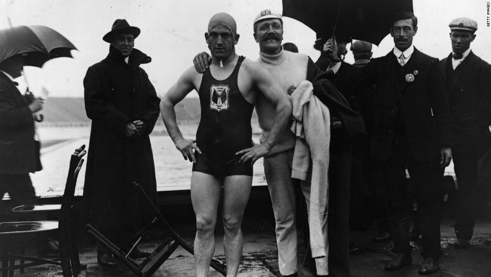 British swimmer Henry Taylor with his very proud trainer after winning the 400 meters.